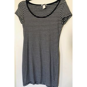 Black and white striped scoop necked dress